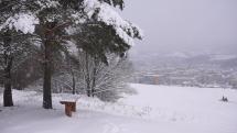 Snehové prehánky nad Bardejovom