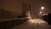 Nočné sneženie v Bardejove