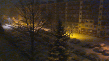 Nočné sneženie v Brezne