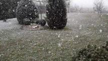 Prvý jarný sneh.