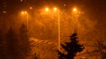 Intenzívna snehová prehánka v Košiciach 30.10.2017