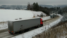 Uvízlé kamiony, obchvat Velké Meziříčí 1