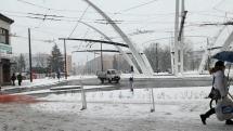 Hradec Králové, polední sněžení
