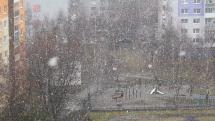 Poprad, dážd so snehom, 1. apríla