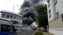 požiar skladu Praha 2