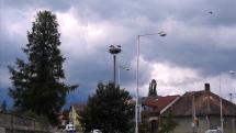 Poprad-časť Veľká  - mladé bociany sa učia lietať