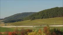 pohľad na Tatry a diaľnicu D1 od Spišského Štvrtka