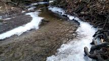 Ľadové kryštály na rieke Vydrica