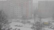Poprad - sneženie - 11.2.2020 - okolo 9,45 hod.